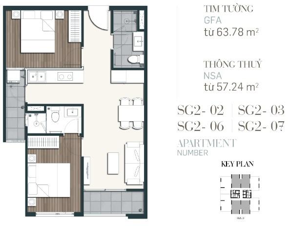 Căn hộ 2PN diện tích 63,78m2-70,55m2-du-an-southgate-tower-can ho quan 7