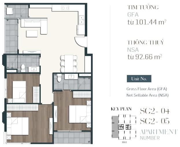 Căn hộ 3 phòng ngủ diện tích 101,44m2-du-an-southgate-tower-can ho quan 7